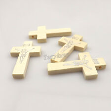 100pcs/lot Printed Jesus White Color Wood Cross Pendant For Necklace DIY