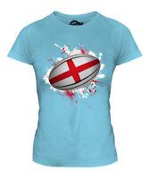 ENGLAND RUGBY BALL SPLATTER LADIES T-SHIRT TEE TOP GIFT WORLD CUP SPORT