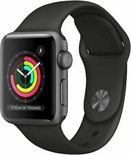 NEW Apple Watch Series 3 38mm GPS Space Gray Aluminum Case with Black Sport Band