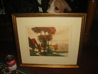 Charlot Painting Print Les Ormes Signed Country Village By Water Framed