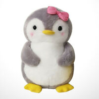 45cm Pink Stuffed Plush Toy Penguin with Bowknot Design Doll Soft Female Animal