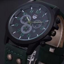 Vintage Mens Classic Waterproof Date Leather Strap Sport Quartz Army Watch+ CasE