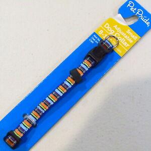 "Dog Collar SMALL Adjustable 8-14"" neck 3/8"" Wide Striped Blue Orange Yellow"
