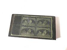 Antique US Postage Stamp Die Copper & Wood Printing Plate - 4c Columbus Fleet