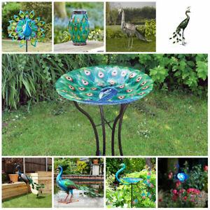 Large Peacock Bird Bath Table Feeder Solar Light Garden Ornament Outdoor Decor