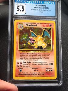 1999 Base Set Unlimited Charizard 4/102 HOLO - CGC 5.5 Excellent Pokémon
