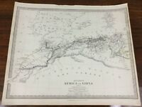 1840 Antique Map of the Sahara Africa Libya Chapman Hall Victorian Old Chart