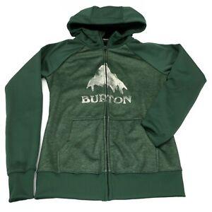 Burton Hooded Full Zip Dryride Sweatshirt Fleece Green Mountain Hoodie   Small