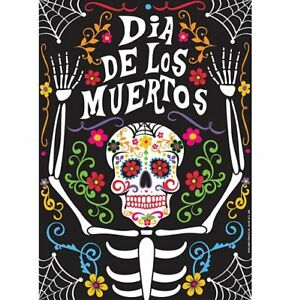 DAY OF THE DEAD / HALLOWEEN POSTER Party Decoration Happy Skeleton & Flowers- A3