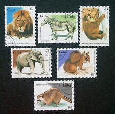 1CUBA Sc# 3674-4679 ZOO ANIMAL lion elephant zebra monkey CPL SET of 6 1995 used