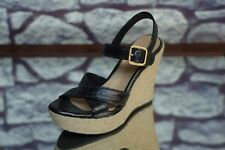 UGG Women's Black Strappy Leather Rope Wedge Heels Size 6 EU 37