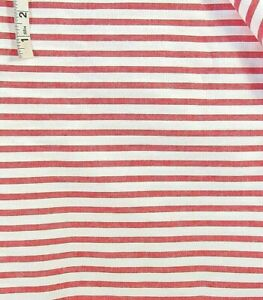2 yds Red & White Striped Cotton Fabric,Apparel,Crafts,Pillows