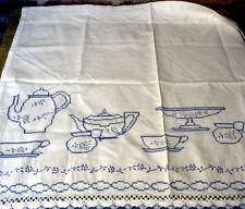 Vintage Curtain Window Tier Blue White Embroidery Tea Time 2 Pair Kitchen