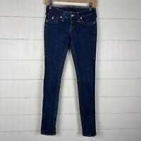 True Religion Womens Blue Denim Dark Wash Size 26 Zipper Fly Skinny Jeans