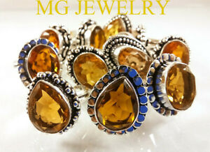 10 PCs Lot Natural Citrine Gemstone .925 Sterling Silver Overlay Rings