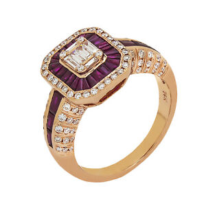 14K Rose Gold Diamond Ruby Art Deco Ring 0.65ct TDW Size 7