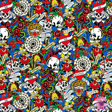 145000034 - New Ed Hardy Love is True Packed Skulls Blue Fabric by Yard Tattoo