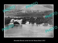 OLD POSTCARD SIZE PHOTO HONOLULU HAWAII, VIEW OF THE MOANA HOTEL c1923