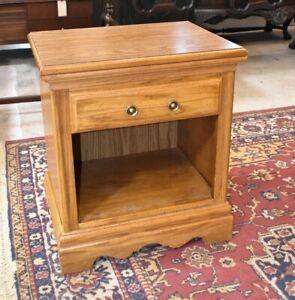 Vintage Oak Bedroom Nightstand or End Side Table, American Drew Furniture