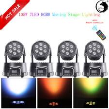4X 70W RGBW 7 LED Stage Lighting Moving Head Light DMX Wash DJ Disco Club Party