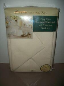 "Bardwell Linens 60"" x 120"" Oblong Textured Reversible Tablecloth & 8 Napkins~NIP"