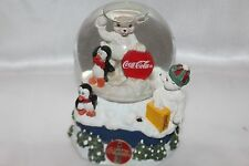 Coca Cola Collectible Polar Bear It's The Real Thing Music Snow Globe Dome 1997