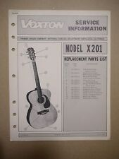 Voxton Guitar Service Information Model X201 Replacement Parts List  Very Rare