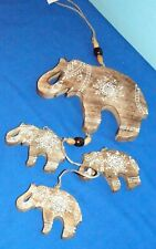 Wooden Elephants Hand Painted Hanging Mobile Good Luck Charm Made In India $28