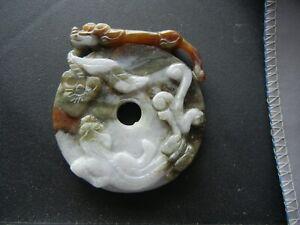 Antique Brown Green  Jade Tiger Buckle Carving