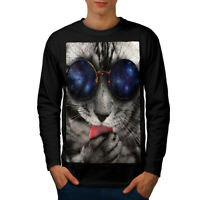 Wellcoda Space Sunglasses Cute Mens Long Sleeve T-shirt, Cute Graphic Design