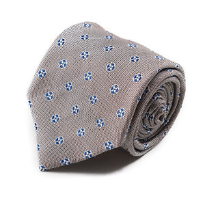 Brioni Brown and White Woven Silk Tie with Blue Floral Jacquard Design $250