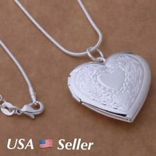 "925 Sterling Silver Heart Locket Photo Pendant  Necklace 18"" Gift Box"