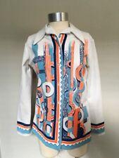 Vtg 60s 70s Mod Orange Blur Geometric Patchwork Poly Knit Tunic Shirt Small