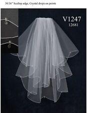 NWT J L Johnson V1247 Aurora crystals white double layer bridal veil sparkling