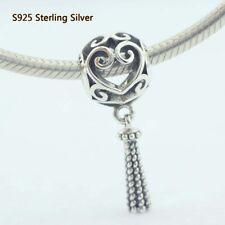 925 Sterling Silver Enchanted Heart Tassel Charm Dangle For European Bracelet