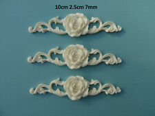Decorative rose on ornate scroll x 3 applique onlay furniture moulding rs1 x3