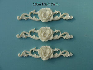 Decorative rose on ornate scroll x 3 applique onlay furniture moulding RS1X3