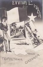 A9496) WW ITALO TURCA, EVVIVA L'ITALIA, DONNA CON TRICOLORE, TRIPOLI E BENGASI.