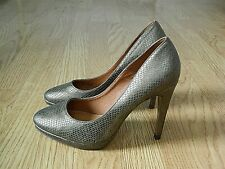 Next Ladies Stiletto Court Shoes Gold Snakeskin Size 5 / 38