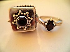 Lot of two rings sterling silver sz.7.5-8 poison ring *pretty vintage rings*