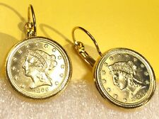 1865 USA Gold Liberty Head $2.5 Dollar Quarter Eagle Coin Earrings + Gift Box!
