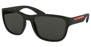 NEW PRADA SPORT Sunglasses Shades Frames BLACK RUBBER PS01US DG05S0 Grey Lens
