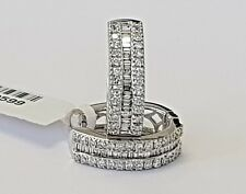 2.06ct Baguette & Round Brilliant Cut Diamonds Hoop Earrings in 18K White Gold