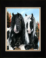 """Horse Art Print Matted 8""""x10"""" Gypsy Vanner """"Mane Attraction"""" By Roby Baer PSA"""