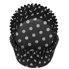 Black with White Polka Dot Cupcake Cases or Baking Cups - 50 Pack / Halloween