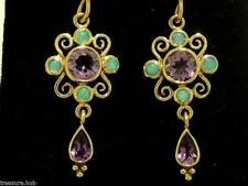 CE123- Victorian style Genuine 9ct Gold Natural AMETHYST & OPAL Drop Earrings