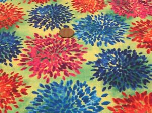 """Red & Blue Blooms on Tonal Green *QT Fabrics* 100% Cotton Remnant * 21"""" x 8"""""""