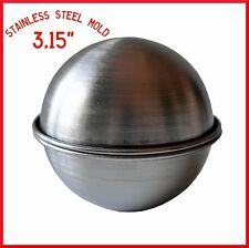 "BATH BOMB MOLD STAINLESS STEEL 3.15"" BATH FIZZY MOLD, SPHERE, ROUND,BALL MOLD"