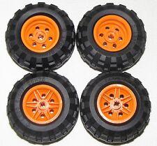 LEGO LOT OF 4 NEW 56 X 26 BALLOON TIRES WITH ORANGE 6 PINHOLE HUBS CAR TRUCKS