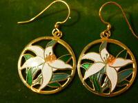 Vintage White Easter Lily Flower Cloisonne Enamel Gold Dangle Earrings 4b 109